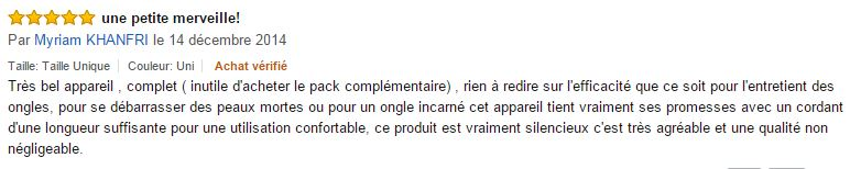 commentaire d'un utilisateur del'appareil perdicure manucure électrique Madame paris